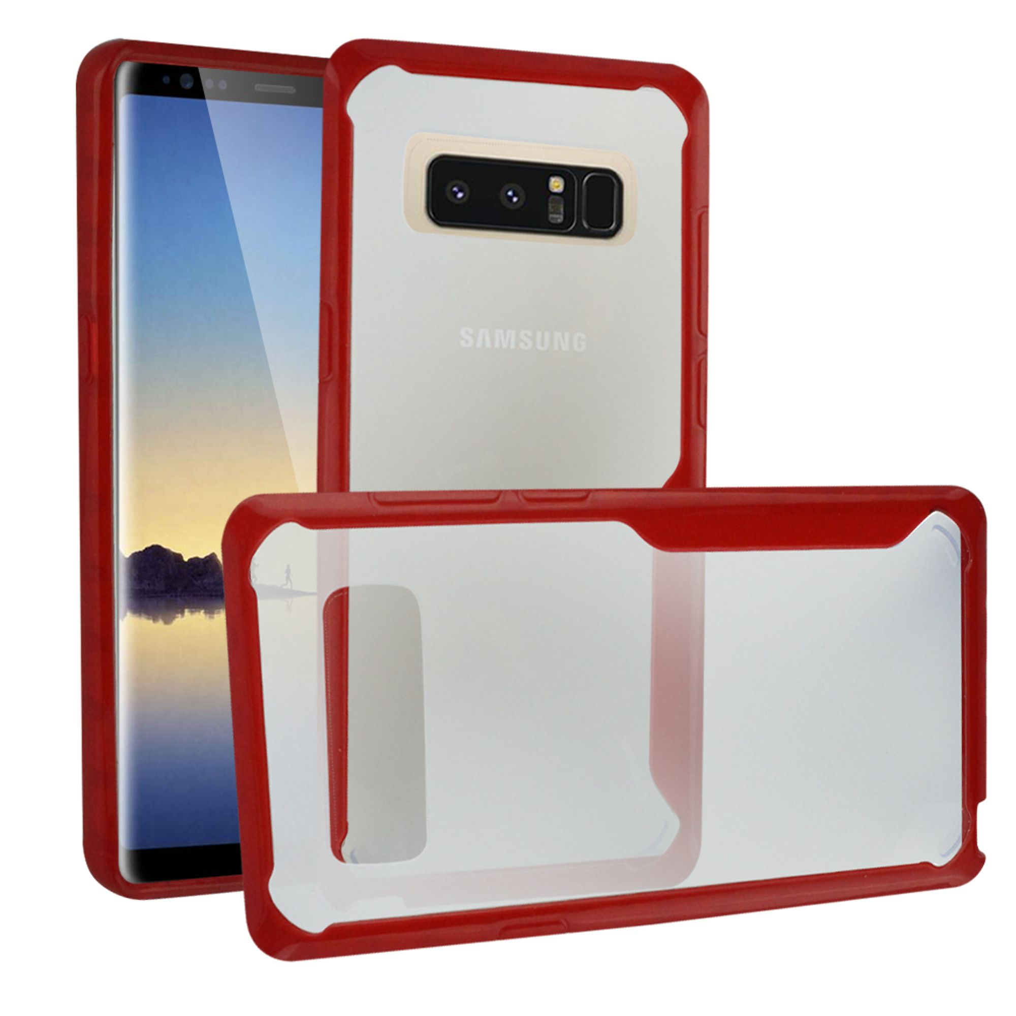 Insten Bumper Acrylic Case Cover For Samsung Galaxy Note 8, Clear/Red