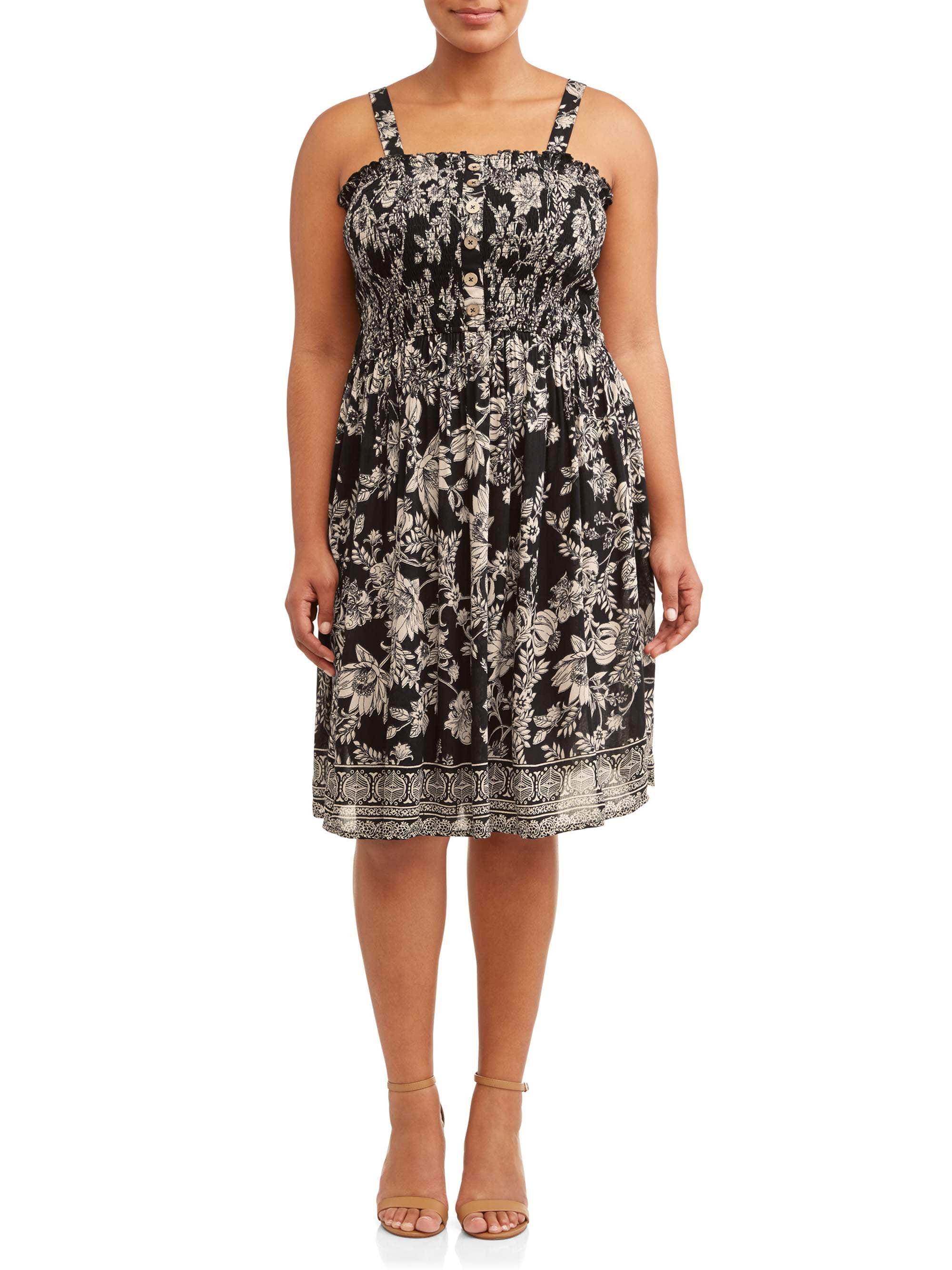 Women's Plus Size Smocked Button Front Midi Dress