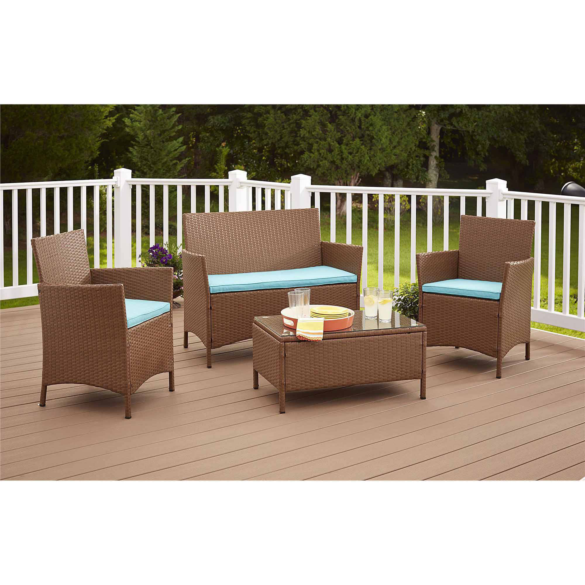 Cosco Outdoor Jamaica 4-Piece Resin Wicker Patio Conversation Set, Brown/Blue