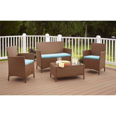 Cosco Outdoor Jamaica 4 Piece Patio Sofa Set In Brown And Blue
