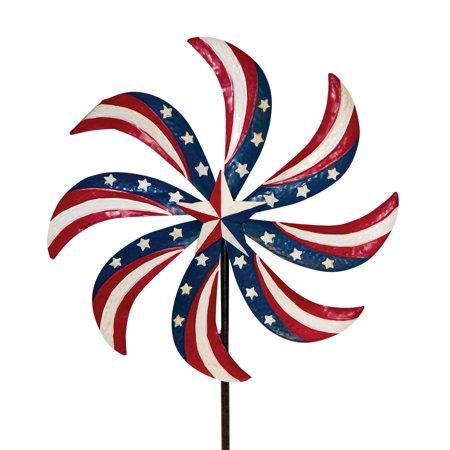 Patriotic Pinwheel Metal Wind Spinner USA Yard Stake 20