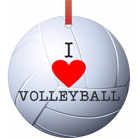 Ornament Volleyball I Love Volleyball Semigloss Flat Round Shaped Ornament Xmas Tree Christmas Décor - Christmas Room Décor and Ornament Yard Decorations