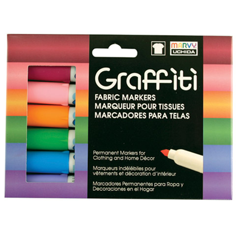 Marvy Graffiti Fabric Markers Floral Set