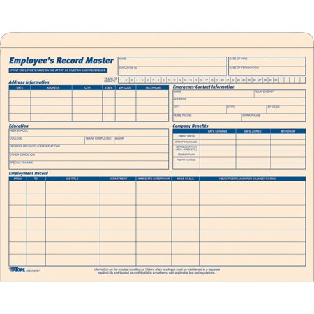 TOPS, TOP32801, Employee Record Master File Jackets, 15 / Pack, Manila