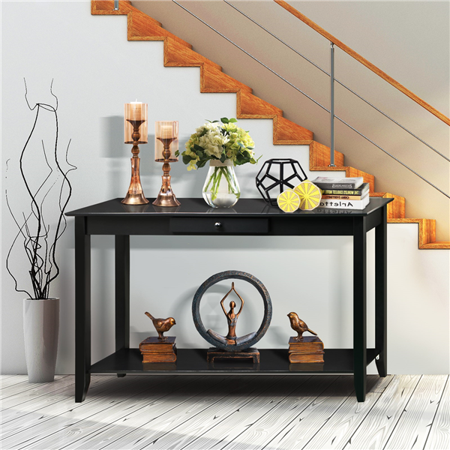 Yaheetech 2 Tiers Concepts Wood Console Table with Drawer and Shelf Living Room Entryway Furniture, Black ()