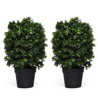Costway 2PC 24'' Artificial Boxwood Topiary Ball Tree Office Garden Patio Desk Decoration