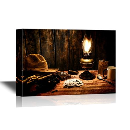 wall26 Retro Style Canvas Wall Art - American West Legend Cowboy Everyday Items in a Nostalgic Americana Scene - Gallery Wrap Modern Home Decor | Ready to Hang - 24x36 inches
