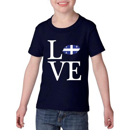Love Canada Quebec Heavy Cotton Toddler Kids T-Shirt Tee Clothing