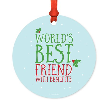 Funny Metal Christmas Ornament, World's Best Friend With Benefits, Holiday Mistletoe, Includes Ribbon and Gift (Benefits Of Having A Best Friend)