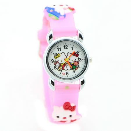 2c018804d Hello Kitty - Hello Kitty Watch Girls Children 3D Design Pink Band Cat  Wristwatch, HKCPW-1 - Walmart.com