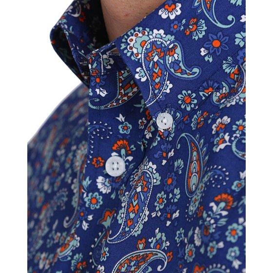 336ee5e8 Cinch Men's Navy Paisley Print Double Pocket Button Down Shirt - Mtw1107091
