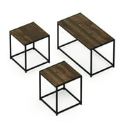 Furinno Camus Modern Living Room Table Set with One Coffee Table and Two End Tables, Columbia Walnut