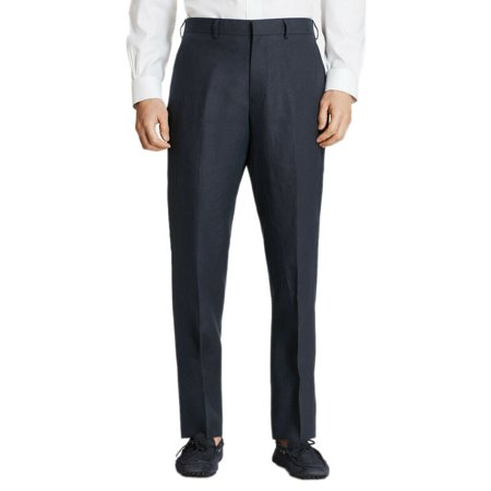New  Brooks Brothers Mens Navy Blue Regent Linen Flat Front Pants 36L Long 8611-3