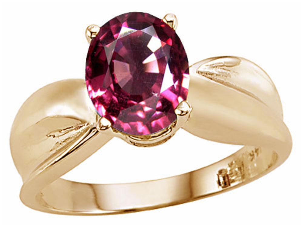 Tommaso Design Oval 9x7mm Simulated Pink Tourmaline Ring by