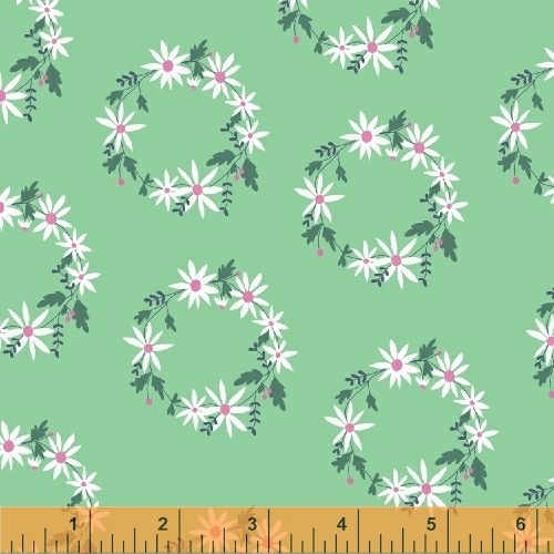 Clearance Sale~Daisy Chain~Flower Garland Green Cotton Fabric by Windham Fabrics