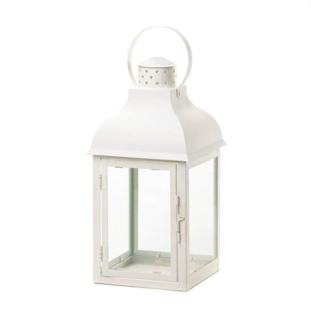 Decorative Candle Lanterns, Glass Gable White Outdoor Large Lantern Lights