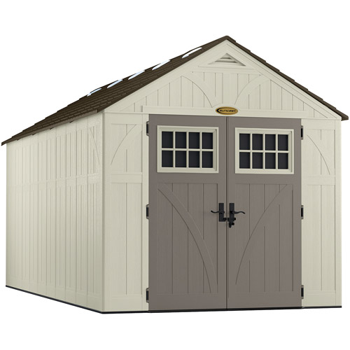 Suncast 8' x 16' Resin Tremont Storage Shed, Vanilla, BMS8160