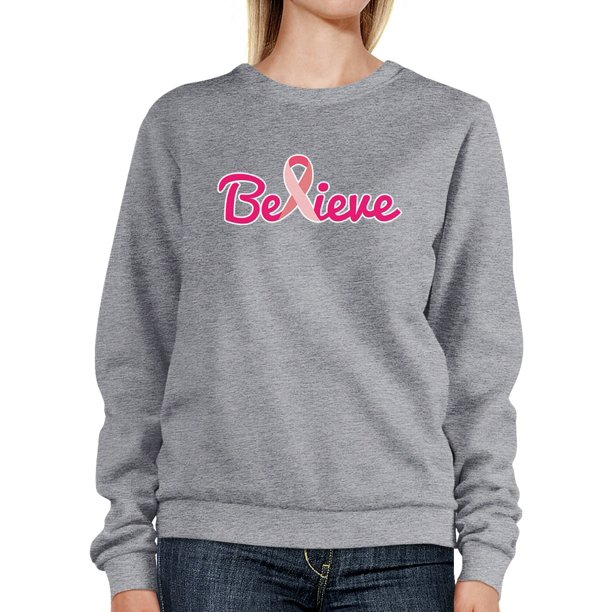 Believe Breast Cancer Sweatshirt Grey Crewneck Pullover Gift Idea