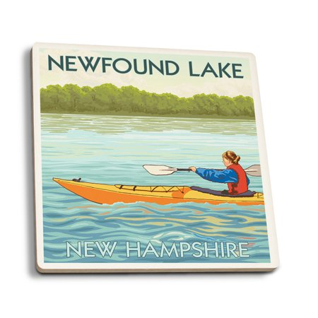 Newfound Lake, New Hampshire - Kayak Scene - Lantern Press Artwork (Set of 4 Ceramic Coasters - Cork-backed, (Lace Lantern)