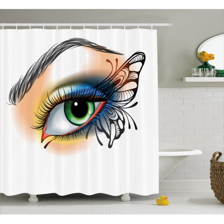 Eye Shower Curtain, Fantasy Woman's Eye Make Up Butterfly Wing Vibrant Colors Eyelashes Female Looking, Fabric Bathroom Set with Hooks, Multicolor, by Ambesonne - Fantasy Makers Eyelashes