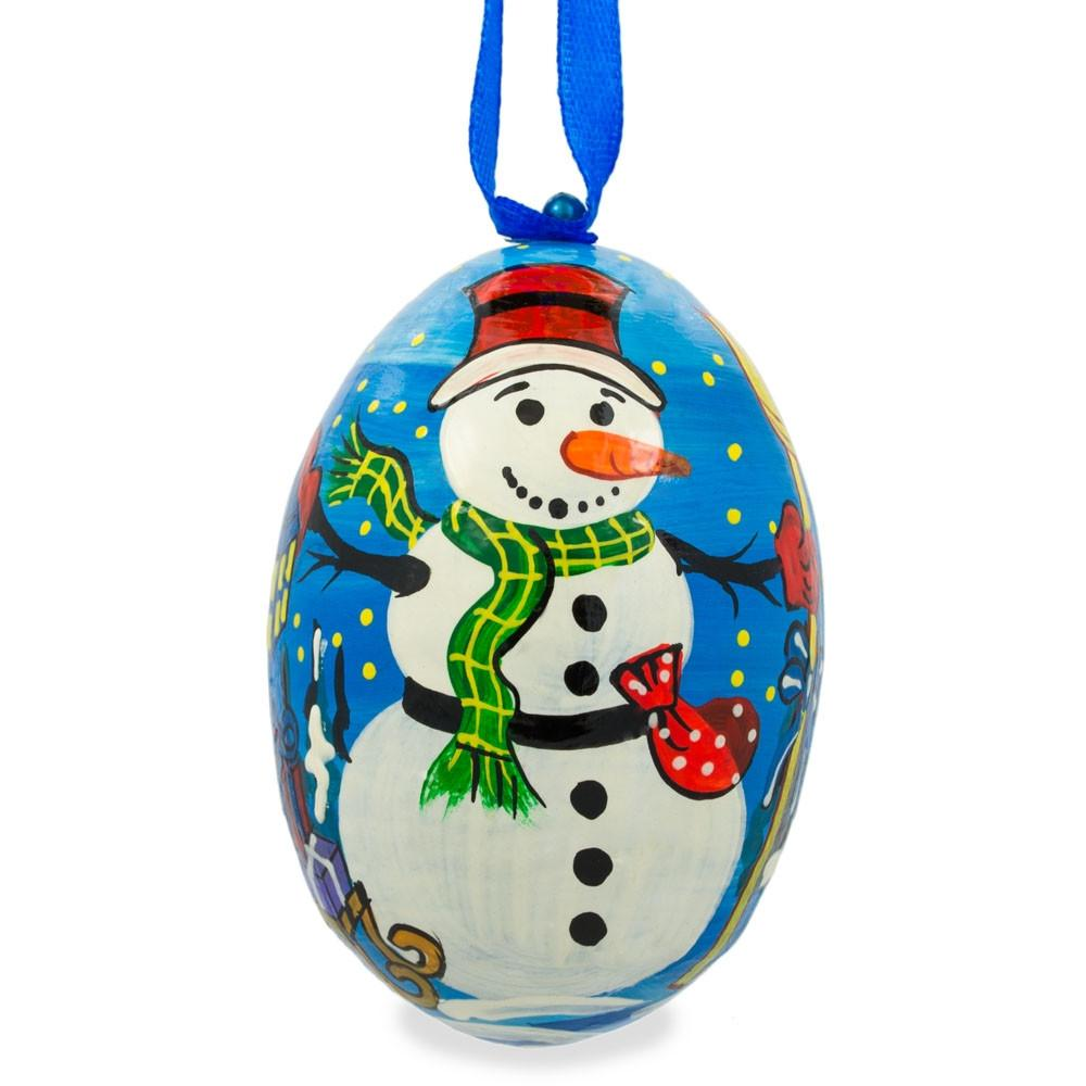 """3"""" Snowman with Scarf and Hat Wooden Christmas Ornament"""