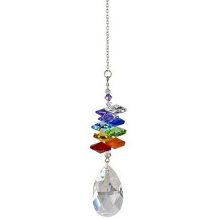 Woodstock Rainbow Makers Crystal Cascade Suncatcher, Genuine Austrian Almond Crystal, 10-Inch Long Multi-Colored