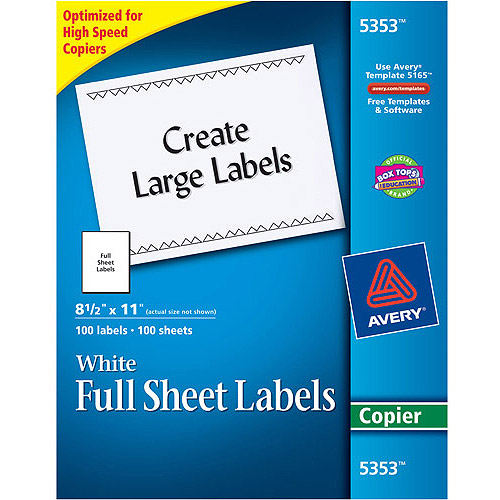 Avery Self-Adhesive Full-Sheet Shipping Labels for Copiers 5353, 8-1/2 x 11, White, 100/Box