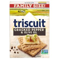 Triscuit Cracked Pepper & Olive Oil Whole Grain Wheat Crackers, Family Size, 12.5 oz