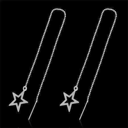 CLEARANCE - Edgy Bold Star Outline Silver Thread Earrings -