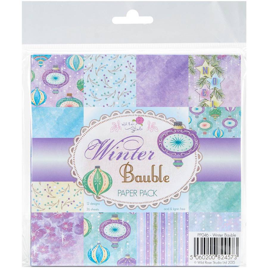 "Wild Rose Studio Ltd. Paper Pack, 6"" x 6"", 36pk, Winter Bauble"