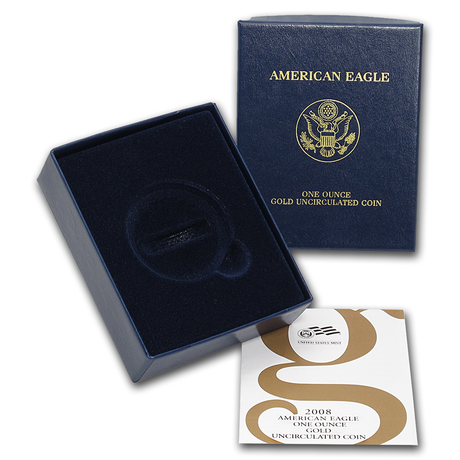OGP Box & COA - 2008 (W) 1 oz Burnished Gold American Eagle