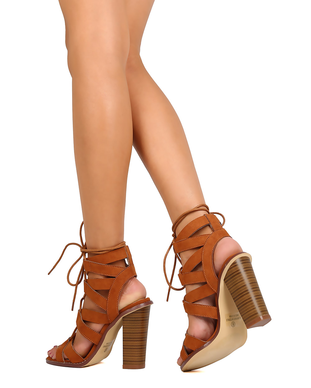 09b56694aea9 Liliana - Liliana FA44 Women Faux Suede Peep Toe Strappy Lace Up Chunky  Heel Sandal - Walmart.com
