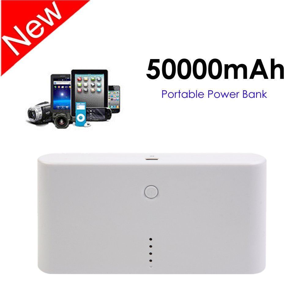 Power Banks 50000mAh Portable Charger Mobile Power Bank Portable External Battery Charger Battery Pack with Dual USB For Various Cell Phone White