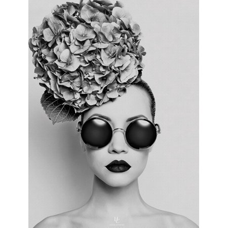 Petunia Modern Fashion Forward Black and White Photo of Woman with Sunglasses and Flowers in Hair Print Wall Art By Haute
