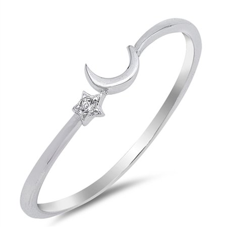 Penguin Cubic Zirconia Ring (Clear CZ Cute Thin Crescent Moon Star Ring .925 Sterling Silver Band Size 9)