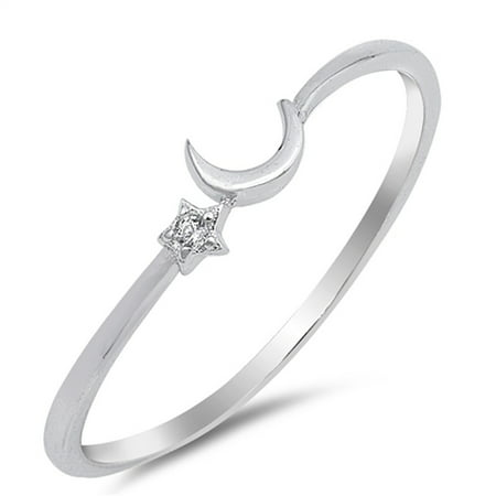 Clear CZ Cute Thin Crescent Moon Star Ring .925 Sterling Silver Band Size 9 ()