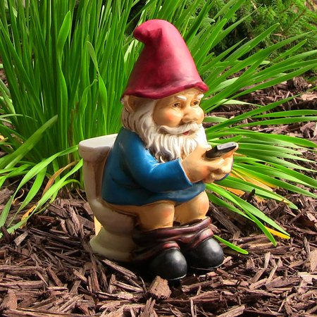 Sunnydaze Cody the Garden Gnome on the Throne Reading Phone, Funny Lawn Decoration, 9.5 Inch Tall - Evil Garden Gnome