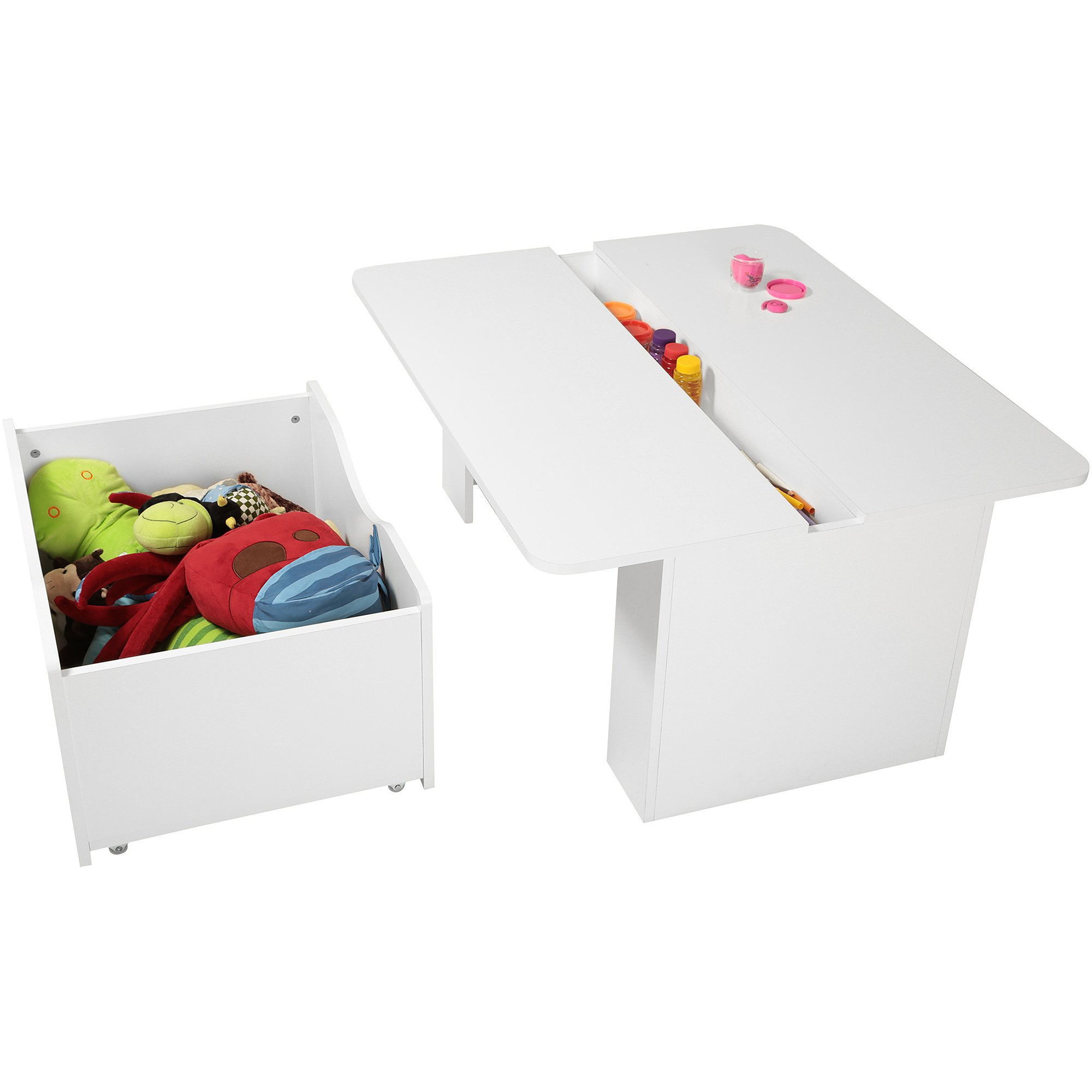 South Shore Crea Kids Activity Table with Toy Box on Wheels, White by South Shore