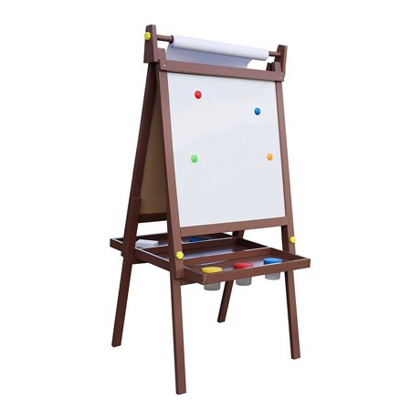 Pidoko Kids Standing Art Wooden Easel, Espresso - Magnetic Dry Erase Board, Chalk Board and Paper Roller - 2 Sided A-Frame with storage compartment and paint cups - Art Station for Boys & Girls