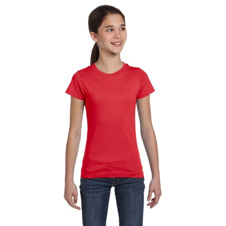 LAT 2616 Girls Fine Jersey T-Shirt - Red - Small