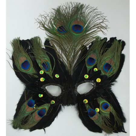 Black Butterfly Feather Mask Masquerade Mardi Gras