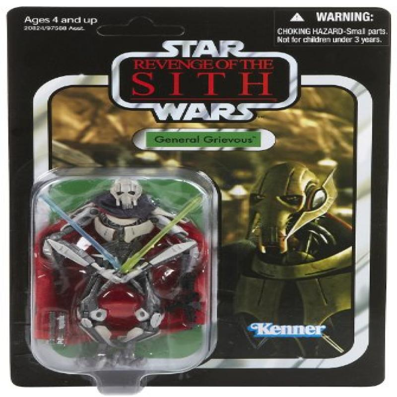 Star Wars 2010 Revenge Of The Sith General Grievous 3-3/4 Inch Scale Vintage Style Action Figure - Foil Card