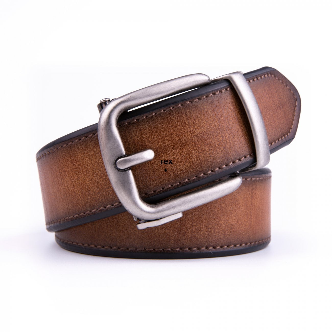 Brown 40mm Thick Casual Leather Belts For Men With Automatic Ratchet Buckle
