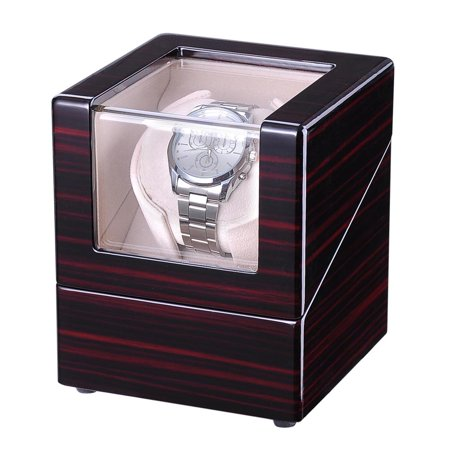 (Yescom Single Motor Automatic Double/Single Watch Winder Display Box Storage Case Organizer Polish Wooden for Wristwatch)