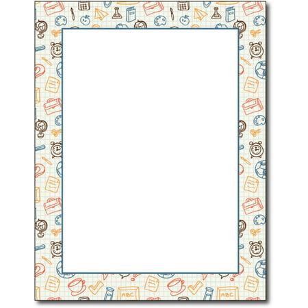 Border Letterhead Paper - School Border Letterhead Paper - 80 Sheets