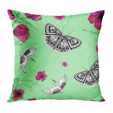 ECCOT Pink Beautiful Abstract Swans Butterflies and Flower Sketches Japanese Raster Bird Blossom Bouquet Pillowcase Pillow Cover Cushion Case 20x20