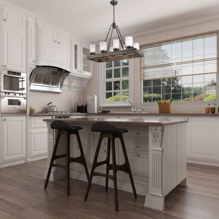 LNC Wood Island Light Rectangular Farmhouse Chandelier for Kitchen, Dining Room with 8 Frosted Glass Shades, (Shades Of Brown Models)