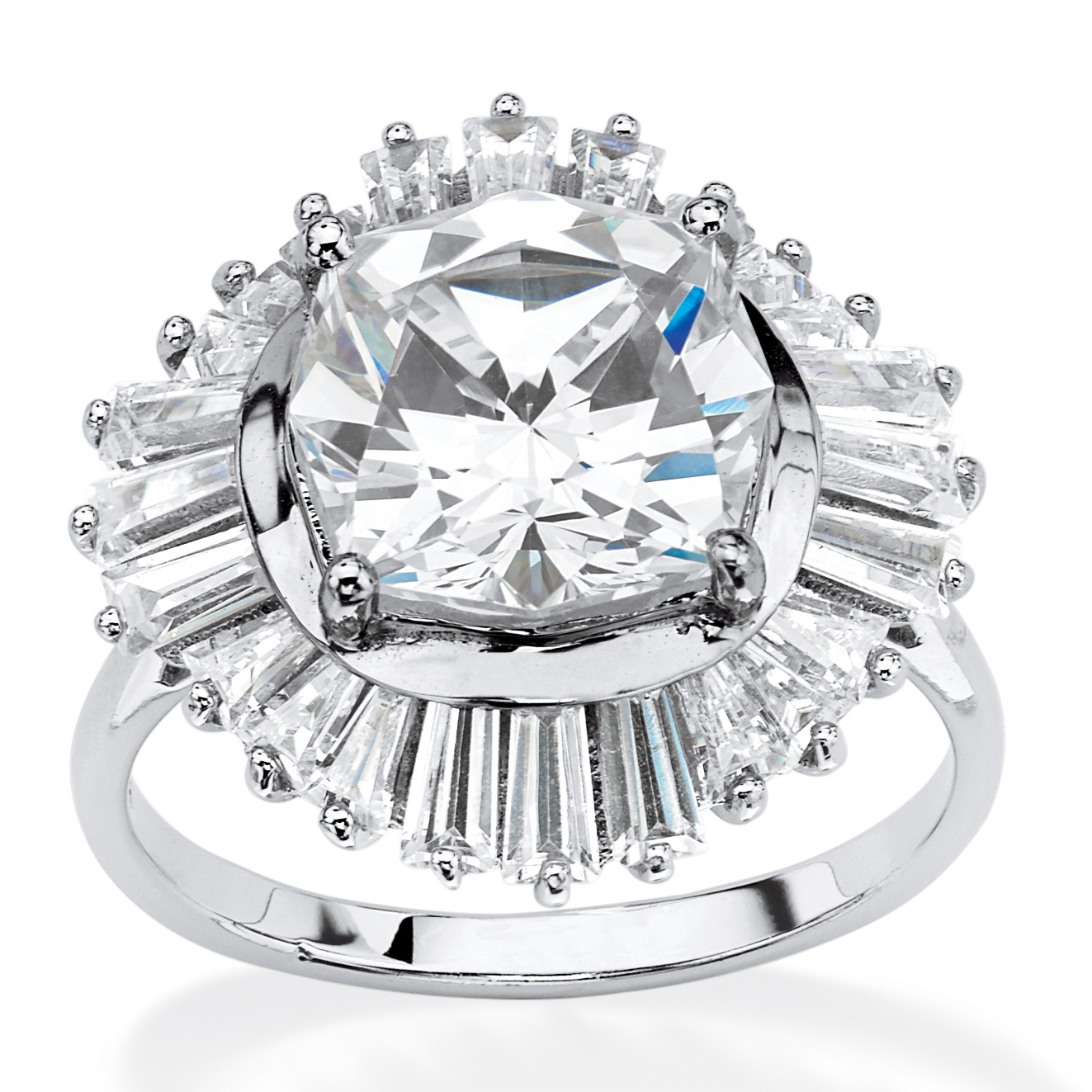 8.88 TCW Cushion-Cut Cubic Zirconia Vintage-Style Ring in Platinum Over .925 Sterling Silver