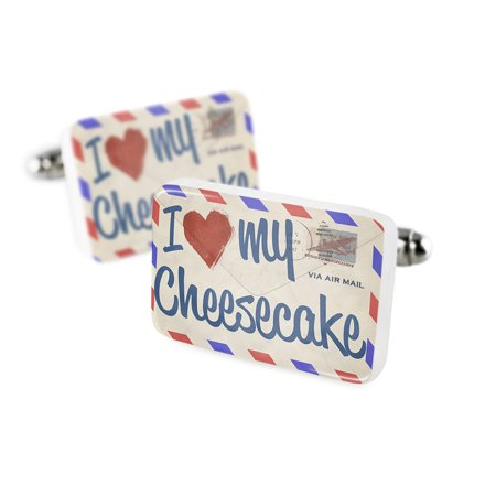 Cufflinks I Love My Cheesecake  Vintage Letterporcelain Ceramic Neonblond
