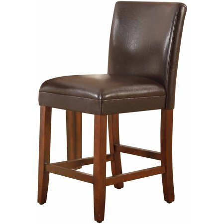 "HomePop 24"" Faux Leather Barstool, Multiple Colors"